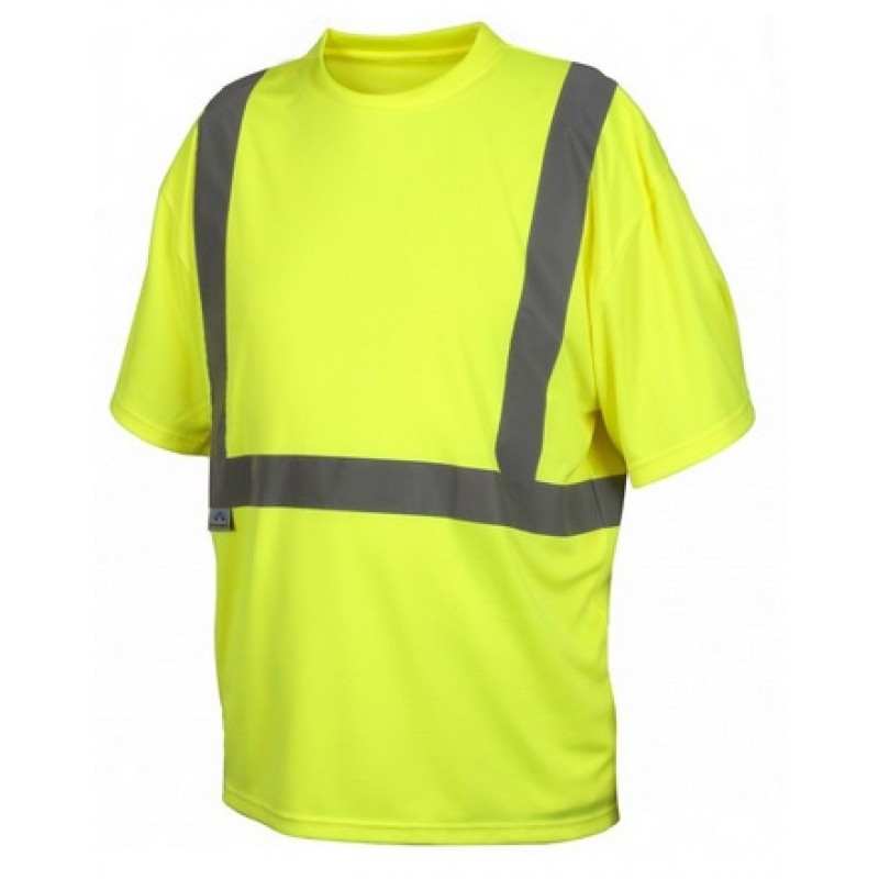 Pyramex rts2110np hi vis lime yellow safety shirt no for Hi vis shirts with reflective tape