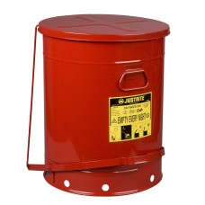 Justrite 09700 Oily Waste Can, 21 gallon, foot-operated self-closing cover, Red