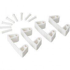 Wall Bracket Clips,4 Clips/8 Pins,RB,White