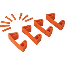 Wall Bracket Clips,4 Clips/8 Pins,RB,Orange