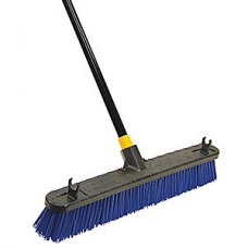 "Tough Guy Blue Poly Push Broom with Handle, Block Size 24"", Heavy Duty Resin Block Material"