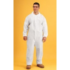 WHITE COVERALL - KEYGUARD - ELASTIC WRISTS AND ANKLES - ZIPPER FRONT - SINGLE COLLAR, 25 / PK