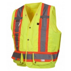 Pyramex RCMS2810SE, Hi Vis Lime/Yellow Surveyor Safety Vest, Metal Snap, Self Extinguishing, Type R - Class 2, With Reflective Tape
