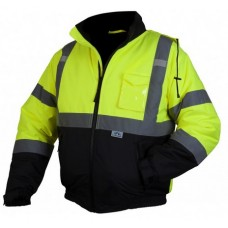 Pyramex RJ3210 Hi Vis Lime/Yellow Bomber Safety Jacket With Quilted Lining & Hood, Type R / Class 3, With Reflective Tape