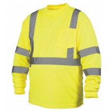Pyramex RLTS3110 Hi Vis Lime/Yellow Long Sleeve Safety Shirt, Type R / Class 3, With Reflective Tape