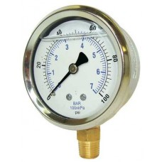 "PIC Gauge 201L-204, 2"" Dial, Glycerine Filled, 1/4"" Lower Mount Conn., Stainless Steel Case and Bezel, Brass Internals"