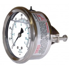 "PIC Gauge 203L-404, 4"" Dial, Glycerine Filled, 1/4"" Center Back Mount Conn. w/ U-Clamp, Stainless Steel Case and Bezel, Brass Internals"