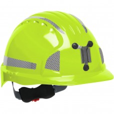 JSP Evolution® 6151 Deluxe Mining Helmet Cap Style with CR2 Reflective Kit, 6 Pt Ratchet Suspension, Hi VisLime/Yellow, 280-EV6151MCR2-LY