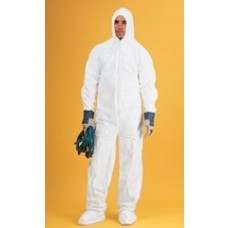 WHITE COVERALL - SMS - ELASTIC WRISTS - ATTACHED HOOD AND BOOTS - ZIPPER FRONT