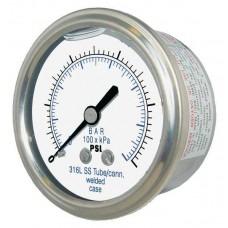 "PIC Gauge 302LFW-254, 2-1/2"" Dial, Glycerine Filled, 1/4"" Center Back Mount Conn., Stainless Steel Case, 316 Stainless Steel Internals"