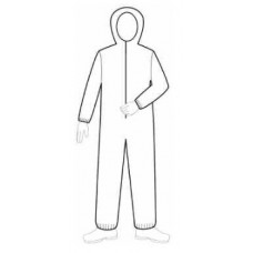 WHITE COVERALL - HEAVY DUTY SMS - ELASTIC WRISTS AND ANKLES - ATTACHED HOOD - ZIPPER FRONT, 25 / PK