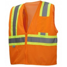 Pyramex RVZ2220SE, Self Extinguishing, Hi Vis Orange Safety Vest, Type R - Class 2, With Reflective Tape