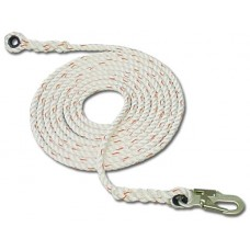 "French Creek 411 Series 5/8"" 3-Strand Polyblend Synthetic Lifeline w/ #74N Locking Snap and Thimble"