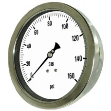 "PIC Gauge 6002-2L, Heavy Duty, 6"" Dial, 1/2"" Lower Back Mount Conn., Stainless Steel Case, 316 Stainless Steel Internals"