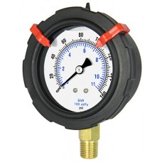 "PIC 701L-254 Pressure Gauge, 2-1/2"" Dial, Filled, 1/4"" NPT Lower Mount Conn., Poly Case, Brass Internals"