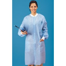 WHITE LAB COAT - SMS - 3 POCKETS - KNIT WRISTS - SNAP FRONT - KNIT COLLAR, 30 / CASE