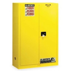 Justrite 894500 Flammable Safety Cabinet, 45 Gal., 2 Shelves, Yellow