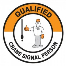 Qualified Crane Signal Person Hard Hat Sticker, 2-1/4""