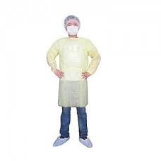 YELLOW ISOLATION GOWN - POLYPROPYLENE - REAR ENTRY WITH EXTRA LONG TIES, 50 / CASE