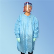 BLUE LAB COAT - SMS - NO POCKETS - ELASTIC WRISTS - SNAP FRONT - SINGLE COLLAR, 30 / CASE