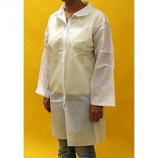 WHITE LAB COAT - POLYPROPYLENE - NO POCKETS - OPEN WRISTS - SNAP FRONT - SINGLE COLLAR, 30 / CASE