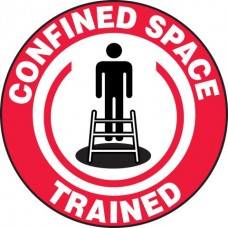 Confined Space Trained Hard Hat Sticker, 2-1/4""