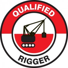 Qualified Rigger Hard Hat Sticker, 2-1/4""
