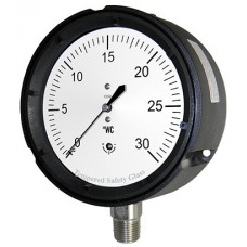 "PIC Gauge LP1-PS, Low Pressure, 4-1/2"" Dial, 1/4"" Lower Mount Conn., Phenolic Case, 316 Stainless Steel Internals, Dry"