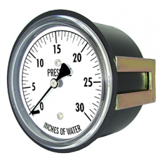 "PIC Gauge LP3 Series, Low Pressure, 2-1/2"" Dial, 1/4"" Center Back Mount w/ U-Clamp Conn., Chrome Plated Steel Case, Brass Internals"