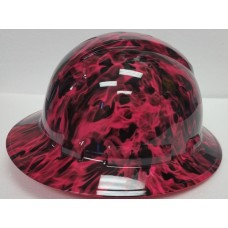 Pyramex Ridgeline Pink Wicked Flames Full Brim Hard Hat, 4Pt Ratchet Suspension