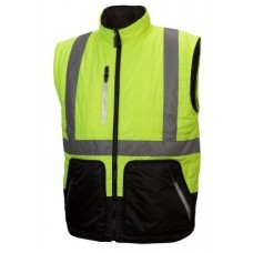 Pyramex RJR3310 Hi Vis Yellow/Black Reversible Quilted Safety Jacket Type R / Class 3, Removable Sleeves