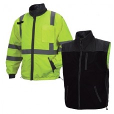 Pyramex RJR3410 Hi Vis Yellow/Black Reversible Windbreaker Safety Jacket Type R / Class 3, Removable Sleeves