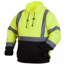 Pyramex RSSH3210 Hi Vis Lime/Yellow Pullover Safety Sweatshirt with Hood, Type R / Class 3, With Reflective Tape