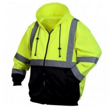 Pyramex RSZH3210 Hi Vis Lime/Yellow Zipper Safety Sweatshirt with Hood, Type R / Class 3, With Reflective Tape