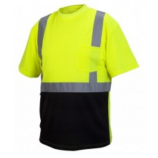 Pyramex RTS2110B Type R - Class 2 Hi-Vis Lime T-Shirt with Black Bottom