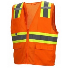 Pyramex RVZ2320 Hi Vis Orange Safety Vest,  All Mesh, Type R - Class 2, With Reflective Tape