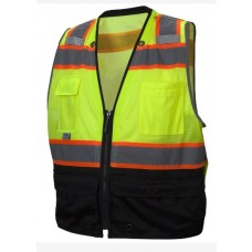 Pyramex RVZ4410B Type R - Class 2 Hi-Vis Lime Safety Vest with Black Bottom