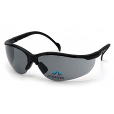 Pyramex Venture II Reader Safety Glasses, Black Frame, Gray Lens, +2.0 Mag