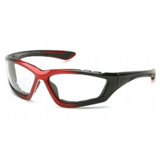 Pyramex Accurist Safety Glasses, Black / Red Frame, Clear Lens, Anti-Fog