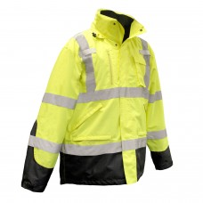 Radians SJ410B Hi Vis Yellow Class 3 Three-in-One Weatherproof Bomber Jacket Parka