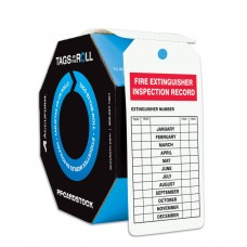 Safety Tags By-The-Roll: Fire Extinguisher Inspection Record, 250 / Roll