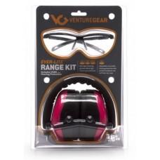 Venture Gear Range Kit ,PM8010 Earmuff with Ever-Lite Black Frame and Pink Lens