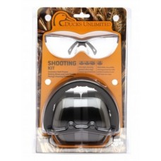 Ducks Unlimited Shooting Eyewear Kit, PM8010 Earmuff with Venture 3, Black Frame,  Clear Lens