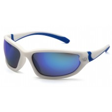 Venture Gear Ocoee VGSW165TB Safety Glasses White Frame Ice Blue Mirror Anti Fog Lens