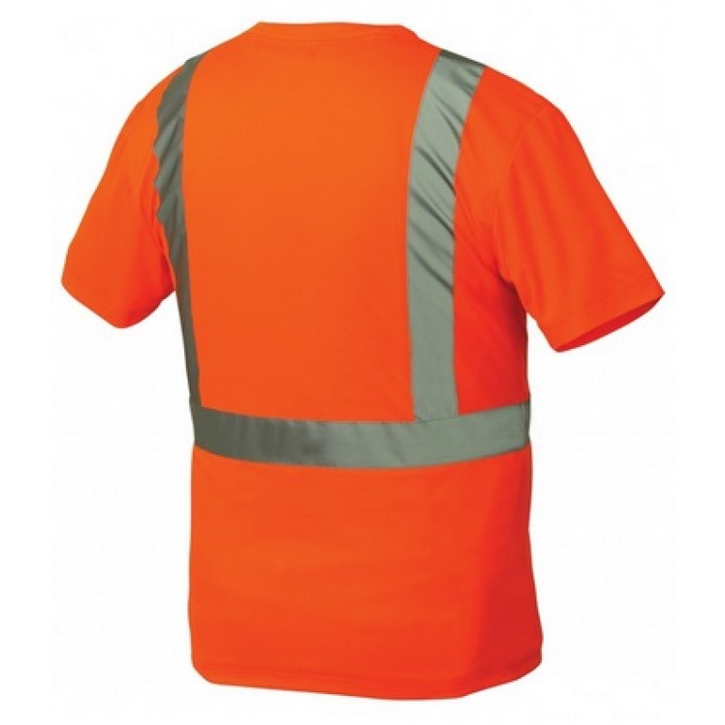 Pyramex rts2120 hi vis orange safety shirt type r class for Hi vis shirts with reflective tape