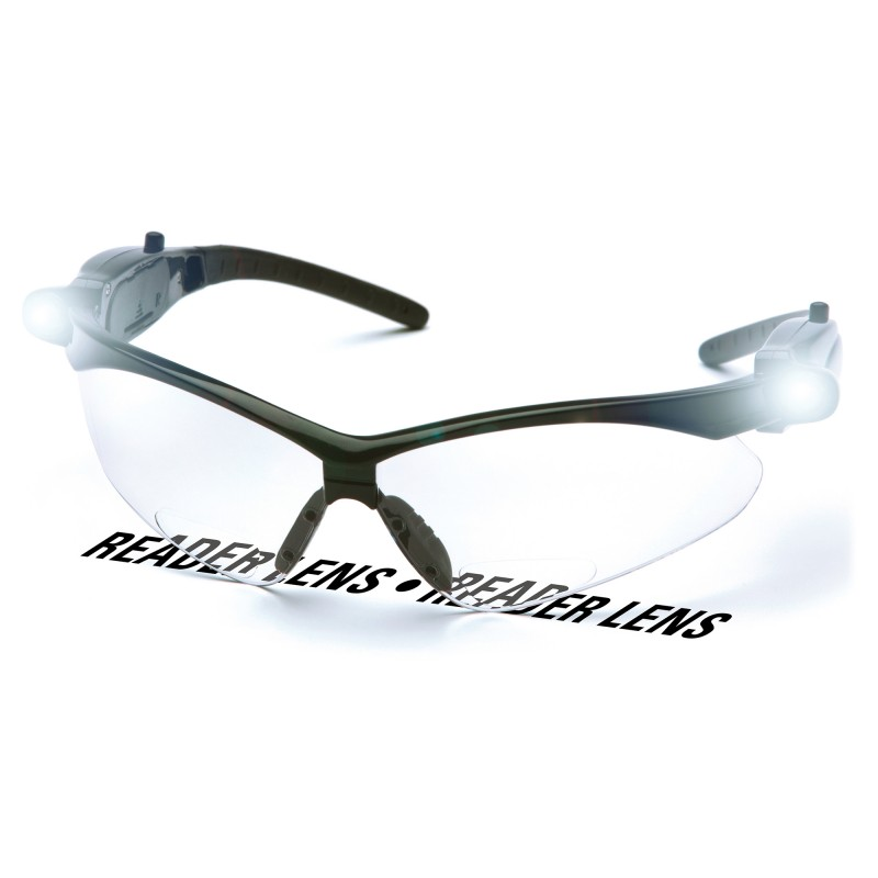26de60f808 Pyramex PMXTREME LED Temples Readers Safety Glasses Black Frame Clear Bifocal  Lens +1.5 Magnification