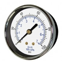 "PIC Gauge 102D-454, 4-1/2"" Dial, Dry, 1/4"" Center Back Mount Conn., Black Steel Case, Brass Internals"