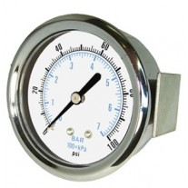 "PIC Gauge 103D-354, 3-1/2"" Dial, Dry, 1/4"" Center Back Mount w/ U-Clamp Conn., Chrome Plated Steel Case and Bezel, Brass Internals"