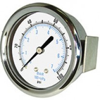 "PIC Gauge 103D-208, 2"" Dial, Dry, 1/8"" Center Back Mount w/ U-Clamp Conn., Chrome Plated Steel Case and Bezel, Brass Internals"