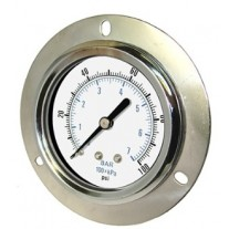 "PIC Gauge 104D-158, 1-1/2"" Dial, Dry, 1/8"" Center Back Mount w/ Front Flange Conn., Chrome Plated Steel Case and Bezel, Brass Internals"